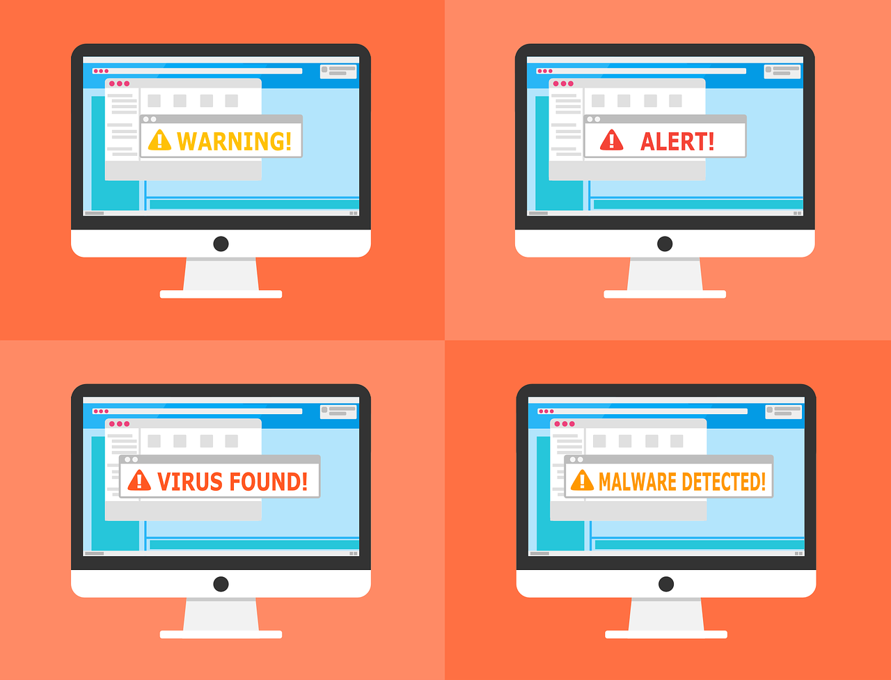 Anti-virus alerts on a computer screen, illustration